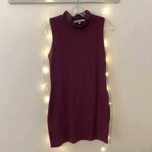 Maroon Sleeveless Mock Neck Dress